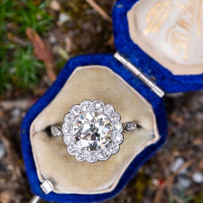 2 Carat Old European Cut Diamond Halo Engagement Ring 2.07Ct L/VS1