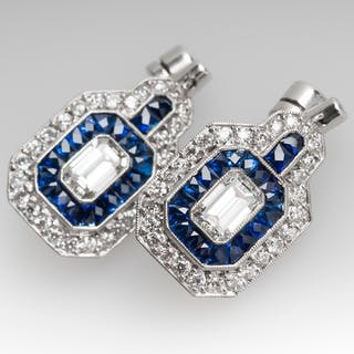 Gorgeous Diamond Sapphire Drop Dangle Earrings Platinum