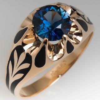 2 Carat No Heat Blue-Green Sapphire Mens Ring w/ Enamel Details