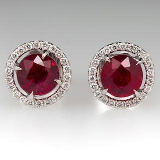 1.95CTW Vivid Red Ruby Diamond Halo Earrings 18K White Gold