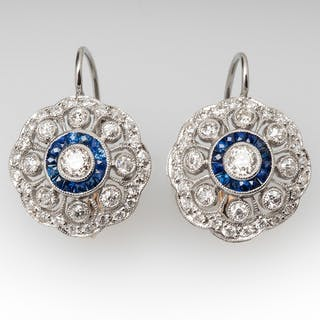 Diamond Sapphire Openwork Dangle Earrings Platinum & 18K