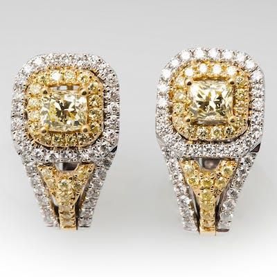 Natural Fancy Yellow Diamond Drop Earrings 18K