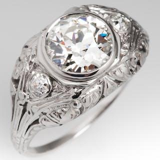 Antique Filigree Engagement Ring Old European Cut Diamond 1.58Ct J/SI1