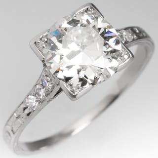 Engraved Art Deco Engagement Ring Transitional Cut Diamond 2.25Ct L/SI2