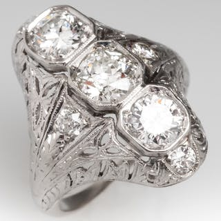 Art Deco Filigree North to South Three-Stone Diamond Ring