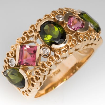 Pink & Green Tourmaline Wide Band Ring 14K Gold