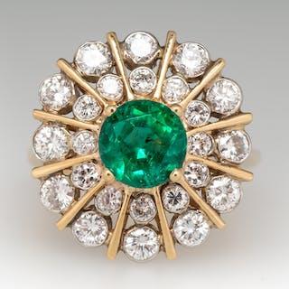 Vintage Emerald Cocktail Ring w/ Diamond Starburst 18K