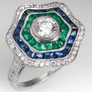 Filigree Halo Cocktail Ring Diamonds Emeralds Sapphires 18K