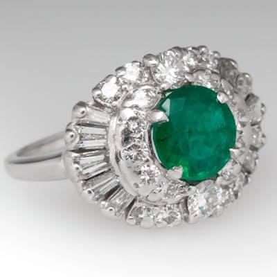 Vintage 1950's Emerald & Diamond Cocktail Ring Platinum