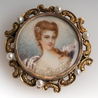 14K Gold Victorian Painted Portrait Brooch Pin w/ Antique Box
