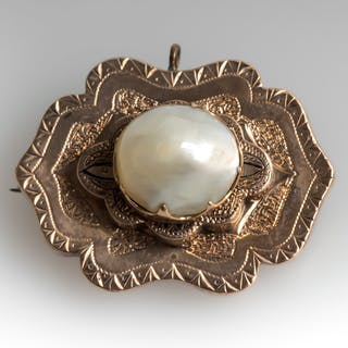 Victorian Natural Pearl Brooch Pendant 14K Rose Gold 1880's