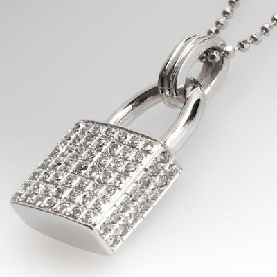 Diamond Encrusted Lock Necklace 14K White Gold