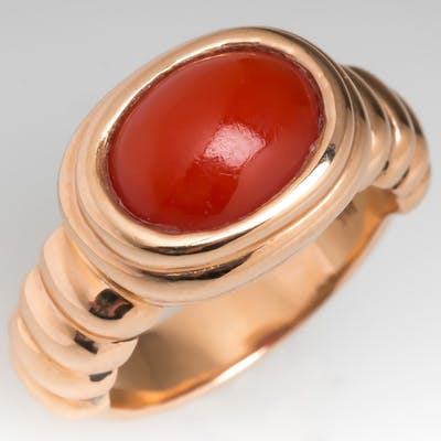Red Coral Cabochon Ring 14K Gold Rosey Tone Mens