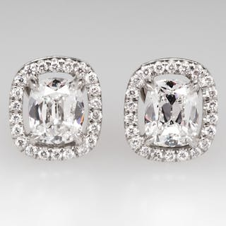 Gorgeous Cushion Cut Diamond Halo Stud Earrings in Platinum