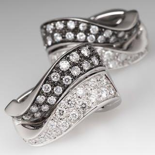 Diamond Huggie Earrings 18K White Gold Black Rhodium Accents