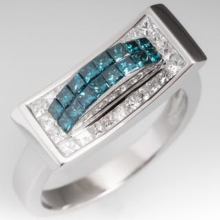Estate Blue & White Diamond 14K White Gold Ring