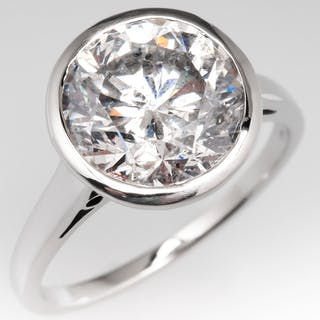 4 Carat Round Brilliant Diamond Bezel Engagement Ring 4.14Ct F/I1