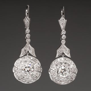 Antique Diamond Drop Dangle Earrings Platinum Highly Detailed Cur S Barnebys Co Uk