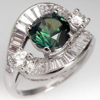 No Heat 2.5CT Green Sapphire Retro Vintage Ring w/ Baguette Diamonds