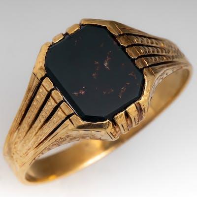 Vintage Mens Bloodstone Ring Detailed 14K Gold   Barnebys