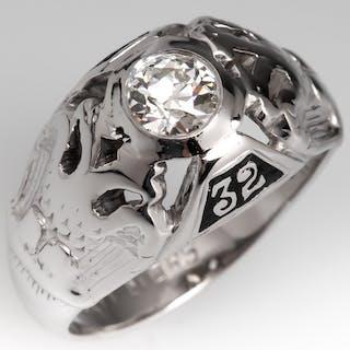 14K White Gold Mens Masonic Diamond Ring 32nd Degree