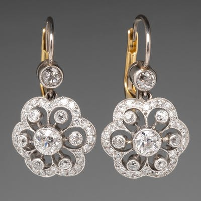 1910's Platinum & Old European Cut Diamond Earrings