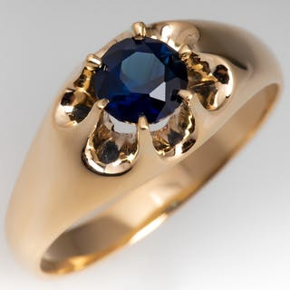 dde44e9aa73 Claw Mount Solitaire Vivid Blue Green Sapphire Ring 14K Gold