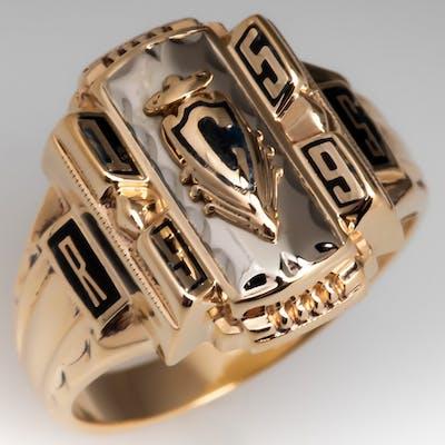 1959 Class Ring RS initial C Crest 10K Gold Josten Mfg