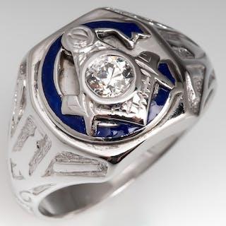 Vintage Mens Diamond Masonic Ring w/ Blue Enamel 14K White Gold