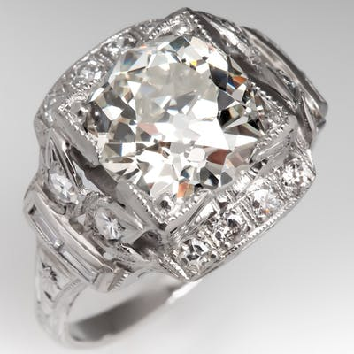 Old Mine Cut Diamond Art Deco Engagement Ring 1920's 2.65Ct L/VS1 GIA