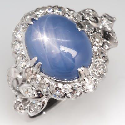 37fdb4fcd6ef6 Vintage Star Sapphire & Diamond Cocktail Ring 18K White Gold | Barnebys