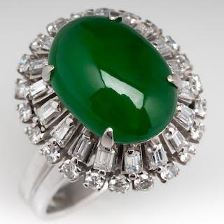 Vintage Jadeite Jade & Ballerina Diamond Cocktail Ring Platinum