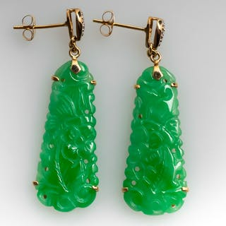 Untreated Jadeite A Jade Carved Earrings W Diamond Accents 14k Gold Cur S Barnebys Co Uk
