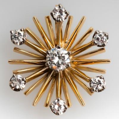 Small Starburst Diamond Vintage Pendant 14K