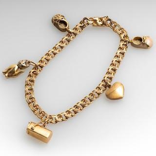 Vintage Charm Bracelet 14K Yellow Gold 7.5-Inch Medium Size