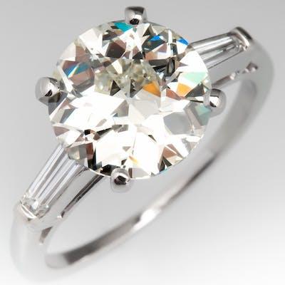 3 Carat Old European Cut Diamond Engagement Ring 3.06Ct M/VS2 GIA