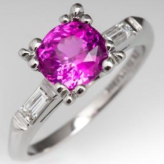 No Heat Pink Sapphire Engagement Ring Platinum w/ Diamonds 1960's