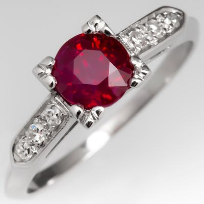 1 Carat Ruby Engagement Ring w/ Diamond Accents 1950's Platinum Mounting