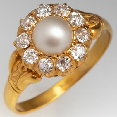Circa 1900 Victorian Era Natural Pearl & Old Euro Diamond Halo Ring