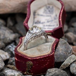 Art Deco Engagement Ring Bezel Antique Cushion Diamond 2.39Ct M/VS1