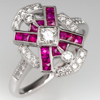 Ruby & Diamond Openwork 18K White Gold Ring
