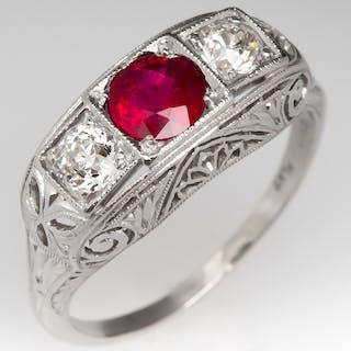 Art Deco Ruby & Diamond Filigree Ring Platinum
