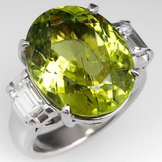 12 Carat Green Tourmaline Cocktail Ring Platinum w/ Diamonds