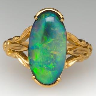 Amazing Black Opal Vintage Ring 18K Gold