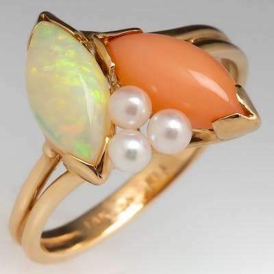 Opal & Pink Coral Estate Ring w/ Pearl Accents 14K Gold
