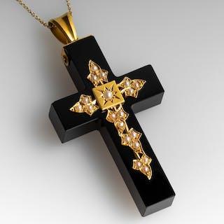 1870's Victorian Black Onyx & Seed Pearl Cross Pendant on Chain 18K