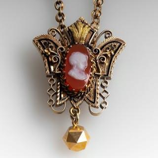 Circa 1880 Victorian Carnelian Cameo Necklace 14K Gold
