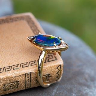 Black Opal & Diamond Navette Ring 18K Yellow Gold