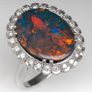 3.7 Carat Black Opal Platinum Ring w/ Diamond Halo