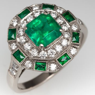 Emerald & Diamond Halo Octagonal Shaped Ring 18k White Gold